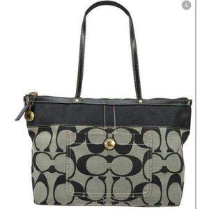 Coach Canvas Signature Stripe Tote Shoulder Bag